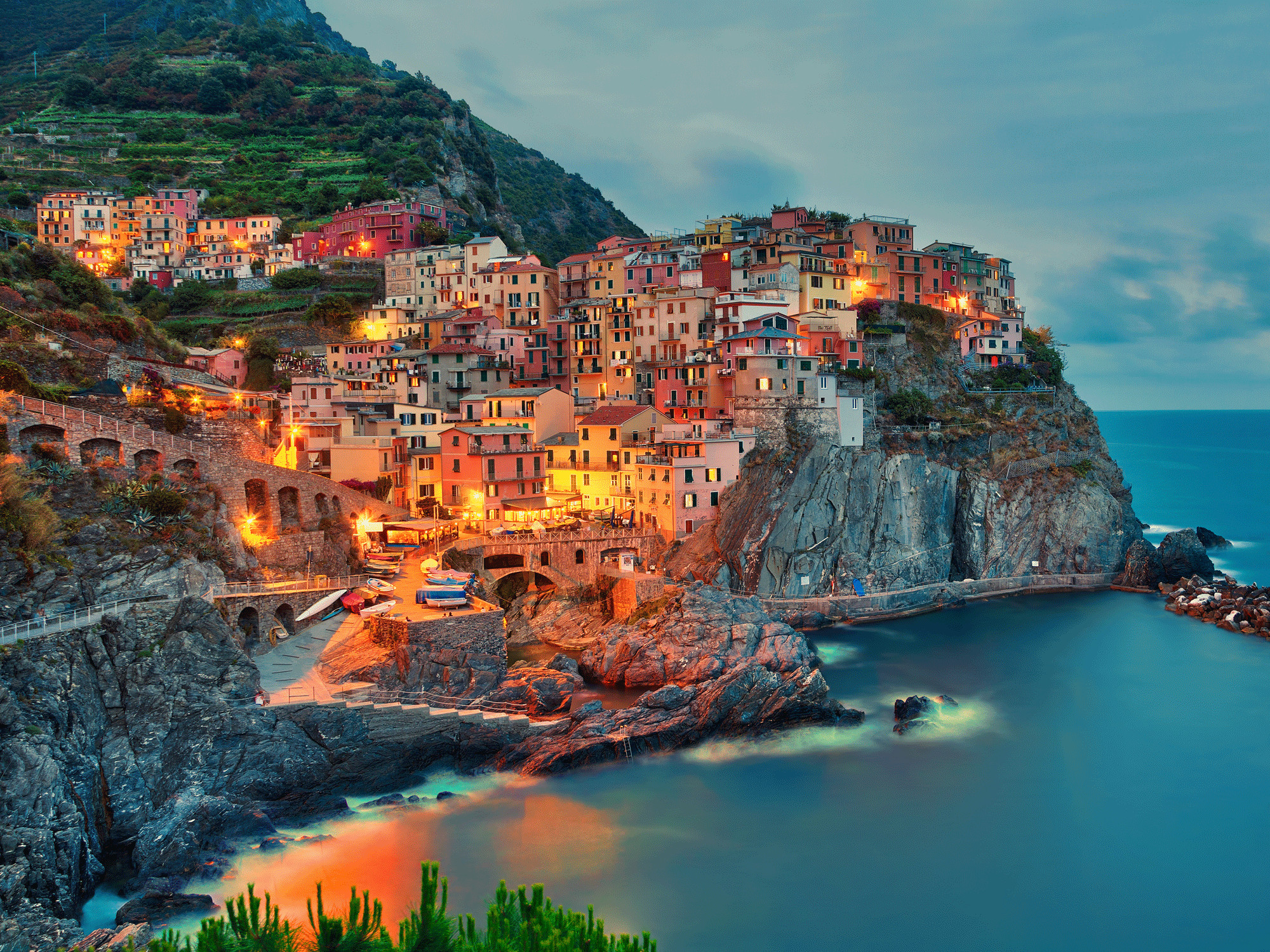 Cinque-Terre Culture Epic Sunset City Teal Red Orange Clouds Water
